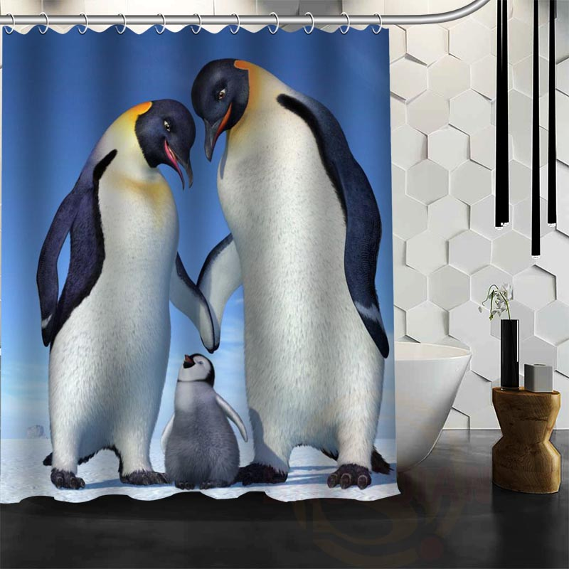 Best Nice Custom Penguin Shower Curtain Bath Curtain Waterproof Fabric Bathroom MORE SIZE WJY&44