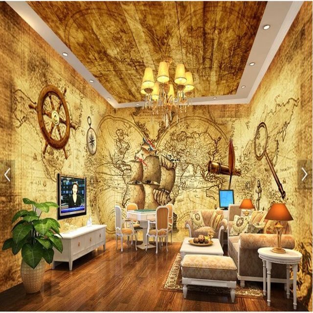 Large Custom Mural Wallpapers Caribbean Pirates Retro Theme Space Background  Wall Paper Living Room Office Decorative Wallpaper