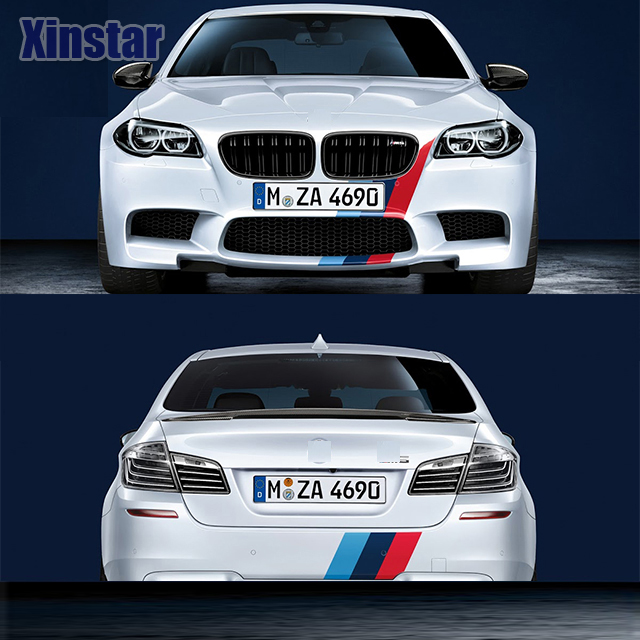 KK M performance car bonnet stripe sticker for bmw E38 E39 E46 E53 E60 E61 E64 E70 E71 E85 E87 E90 E83 F10 F30 F20 F35 GT