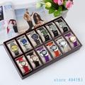 12-Grid Wood watch display organizer  tray case without lid/ watch tray bracelet decoration show case storage tray dark red