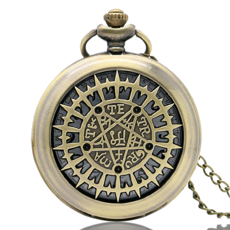 Vintage Bronze Holllow Supernatural Quartz Pocket Watch Men Women Necklace Pendant Chain Birthday Gifts reloj de bolsillo P220 antique smooth black mini toy pocket watch men women retro pendant necklace quartz watch mini gift chain reloj de bolsillo