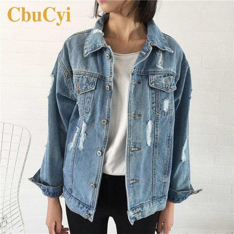 Spring Women Basic Jackets and Coats Casual Fashion Hole Frayed Denim Jacket for Women Jeans Coat Vintage Jaqueta Jeans Feminina
