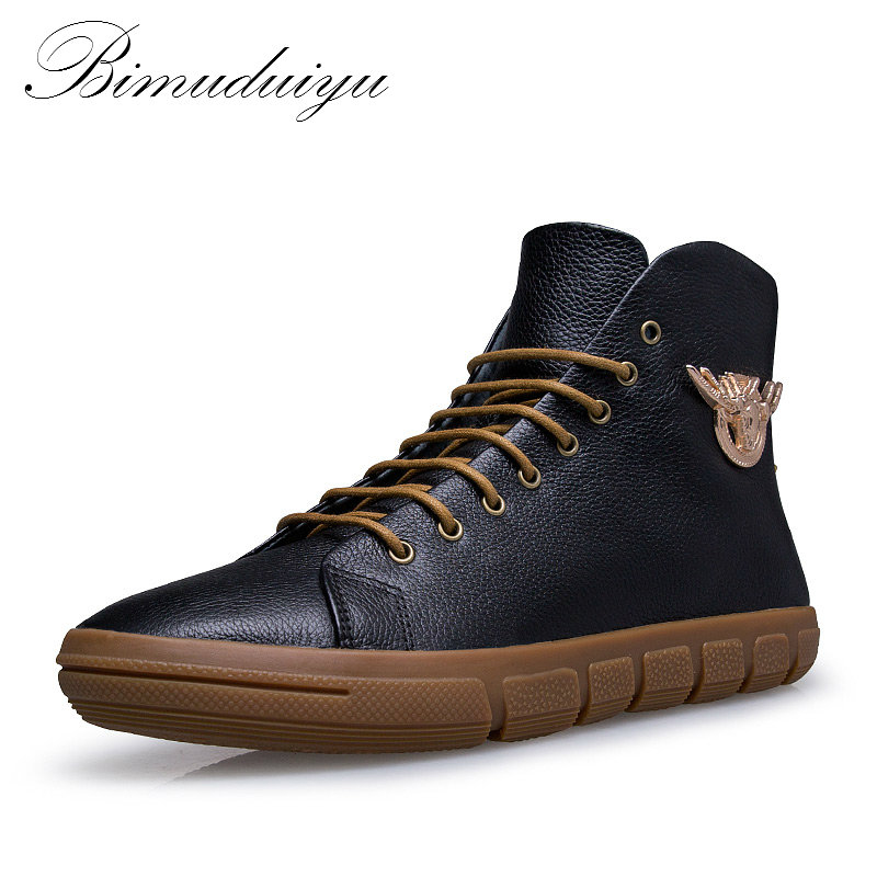 BIMUDUIYU Brand New Men Winter Autumn Boots Warm Genuine Leather Waterproof Motorcycle Boots Snow Boots Winter