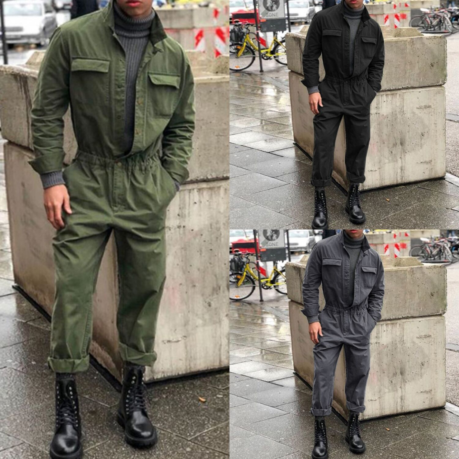 Mens One Piece Jumpsuit Stand Collar Solid Costume Fashion Autumn Winter Street