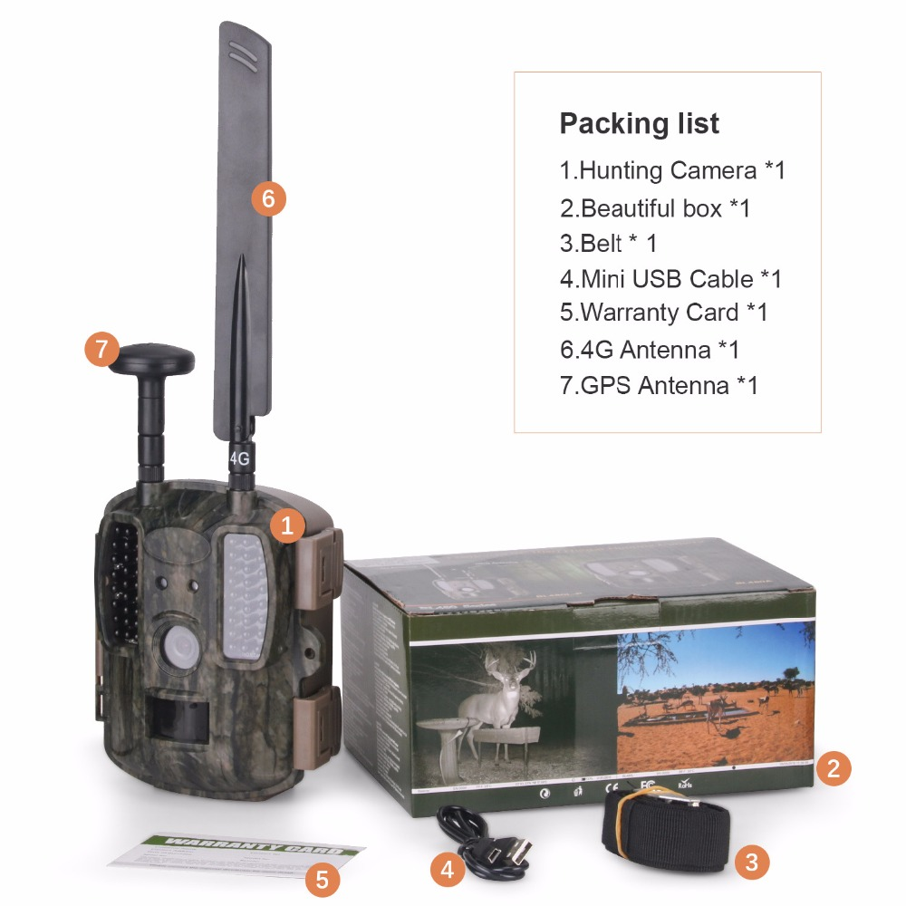 4G caméra de chasse GPS FTP caméra trail Email avec 4G chasse faune caméra support MMS GPRS GSM Photo pièges 4G vision nocturne