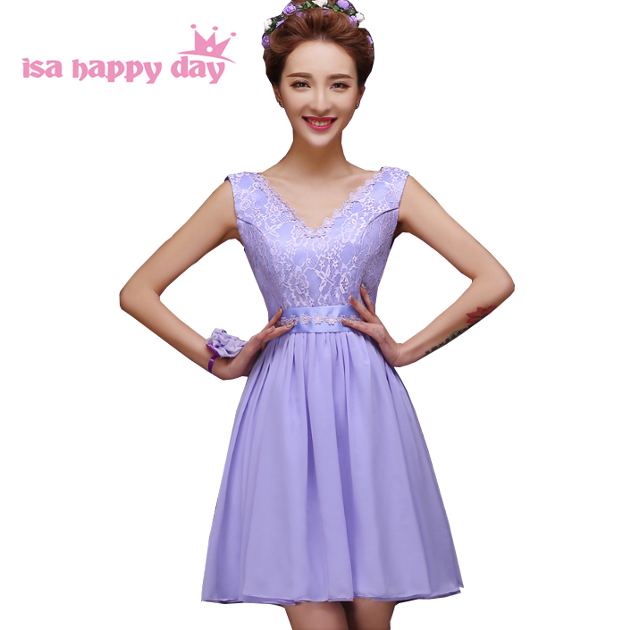 country style purple lilac cheap lavender v neck chiffon   bridesmaid     dresses   bridemaid   dress   short different styles H4239