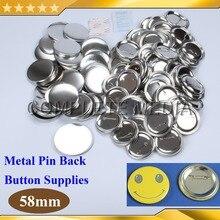 """100 наборов 2-1/"""" 58 мм контактный задний металлический значок материалы для блях для профессиональных всех стальных производитель значков"""