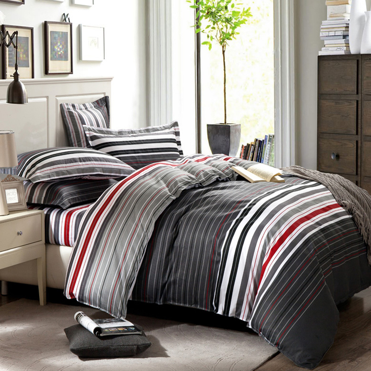 grey and red stripes printing 4pc bedding set queen bed duvetquilt covers bedclothes pillow shams sets 100 cotton - Striped Sheets