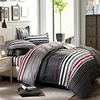 Grey And Red Stripes Printing 4pc Bedding Set Queen Bed Duvet Quilt Comforter Covers Bedclothes Pillow