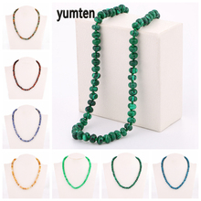 Yumten Beaded Chokers Malachite Necklace Women Crystal Accessories Natural Stone Jewelry Lady Lucky Gemstone Power Beads Chain yumten agate necklace gemstone beads natural stone colares women jewelry crystal accessories statement females chain gioielli