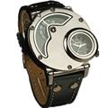 Top Luxury Brand Army Big Dial OULM 9591 Watch 2 Time Zone Quartz Men Watch Business Leather Band Wrist Watch Relogio Masculino