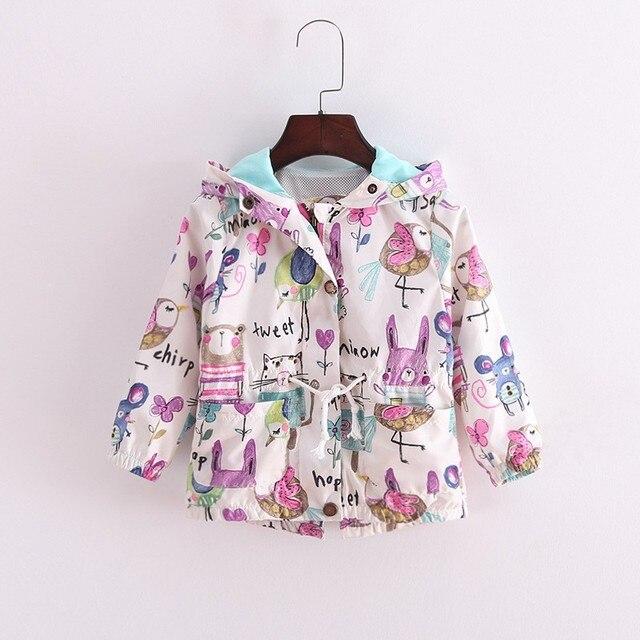 BibiCola/2017 г. весенние детские куртки для девочек Детская куртка для девочек повседневные с капюшоном верхняя одежда с рисунком ручная роспись Детская летняя одежда