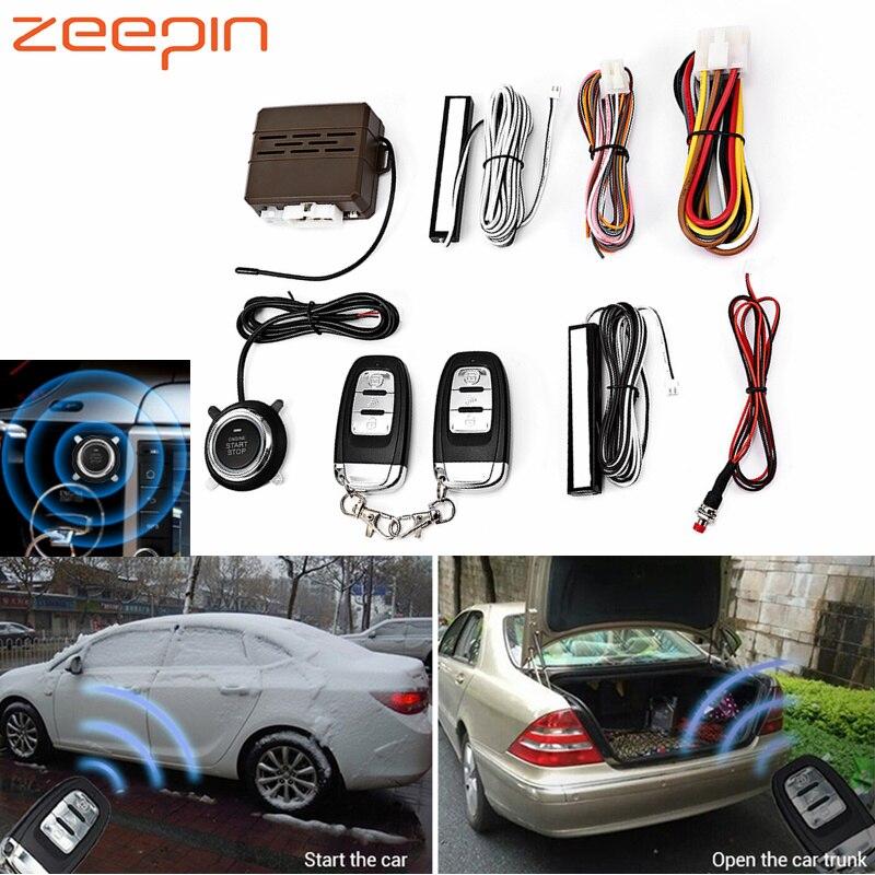 E 12 V systèmes d'alarme de voiture sécurité aucune entrée de clé télécommande bouton poussoir démarrage système d'alarme antivol