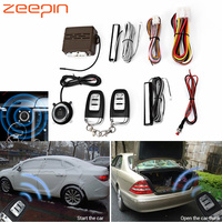E 12V Car Alarm Systems Security No Key Entry Remote Control Push Button Start up Anti theft Burglar Alarm System