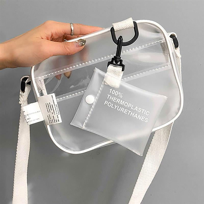 Casual 2 Pcs PVC Transparent Clear Women Small Crossbody Bags For Women Handbag Clear Shoulder Bag Set Jelly Phone Bags W235