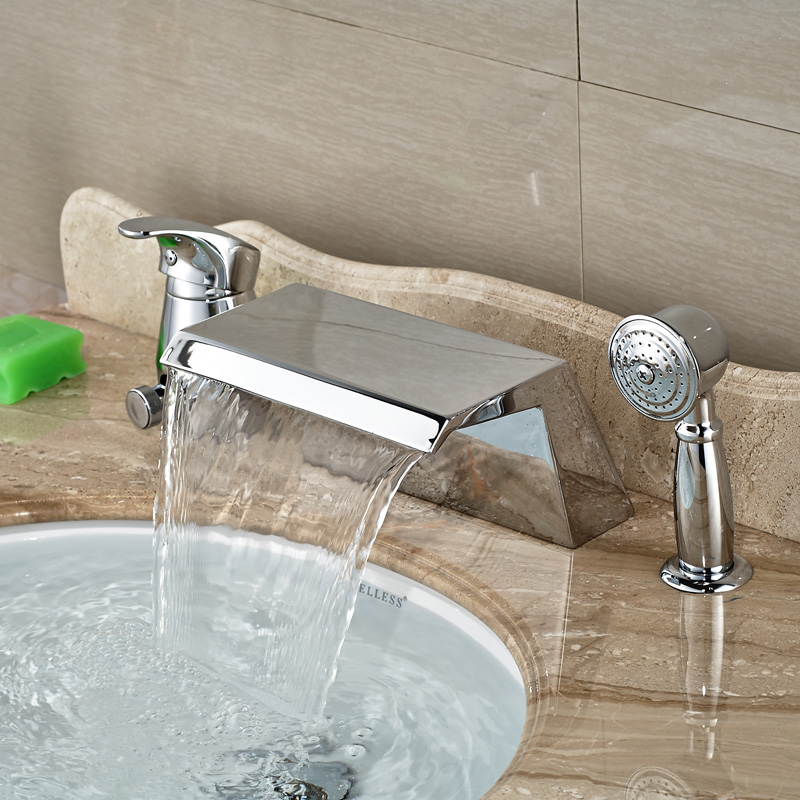 sprayer deck mounted waterfall spout single lever bathroom tub faucet