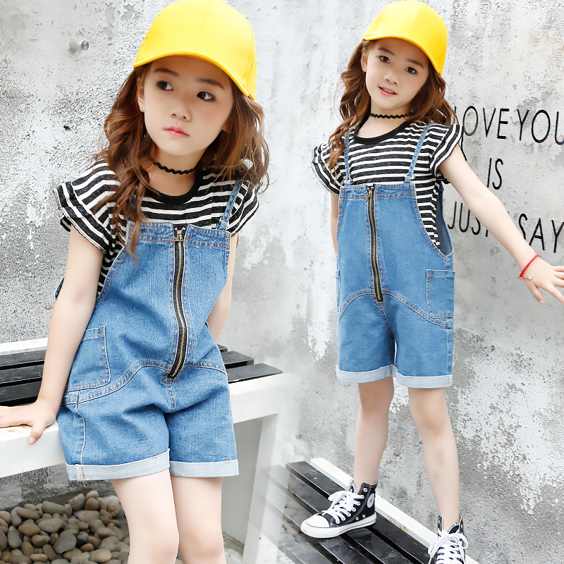 summer teeanges clothes new girls denim bib dress kids girls+t shirts girl stripe casual children suits party costume jackets