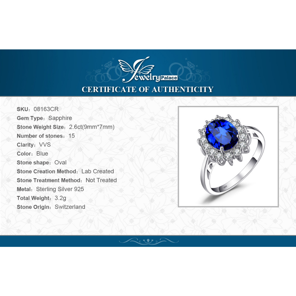 Купить с кэшбэком JewPalace Princess Diana Created Sapphire Ring 925 Sterling Silver Rings for Women Engagement Ring Silver 925 Gemstones Jewelry