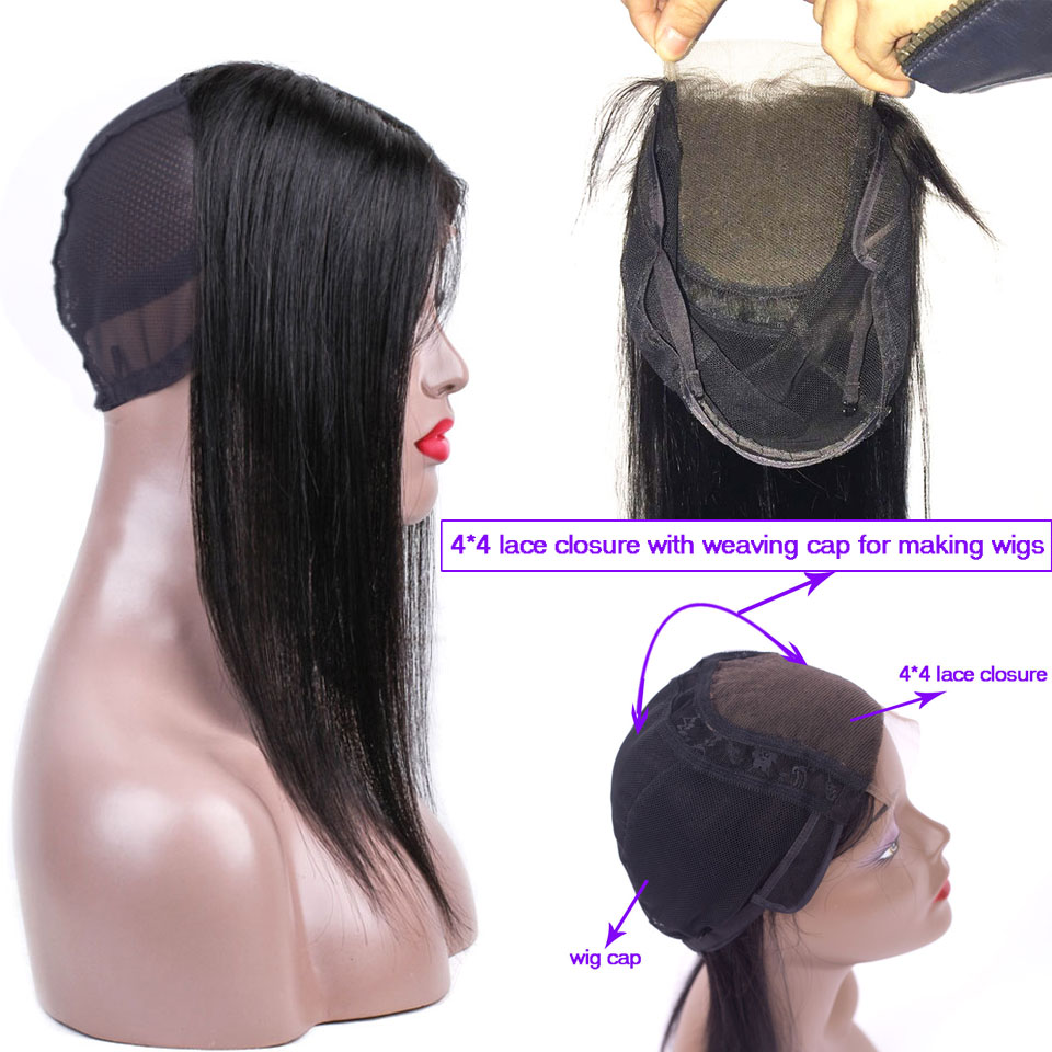 Peruvian Straight Hair 4x4 Lace Closure With Wig Cap For Making Women Wigs Human Hair Swiss Lace Top Closure With Caps Non-remy