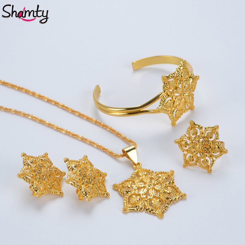 Shamty Exquisite Luxury Pattern Jewelry Sets Flowers Pure Gold Color - Mode-sieraden