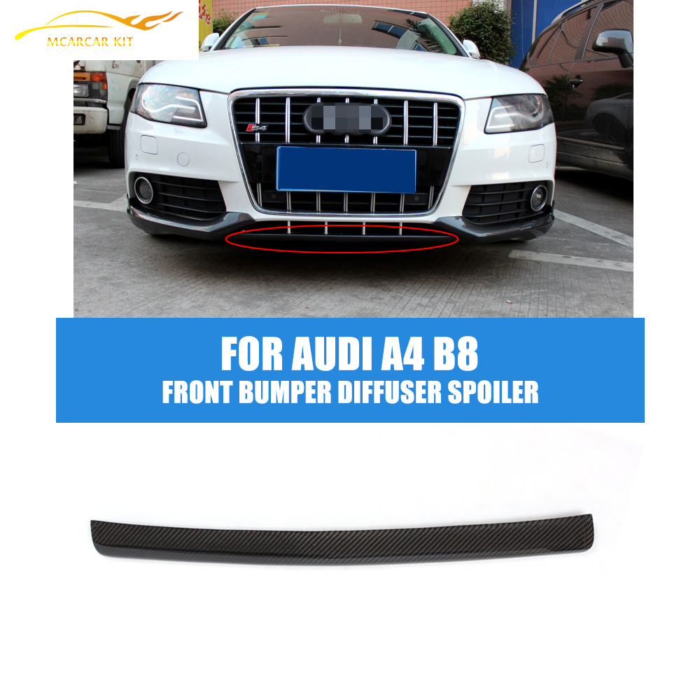 ФОТО A4 B8  Carbon Fiber Front Bumper Diffuser Spoiler Lip  For Audi A4 B8 Standard 2009 2010 2011 2012 (Not for Sline Bumper)