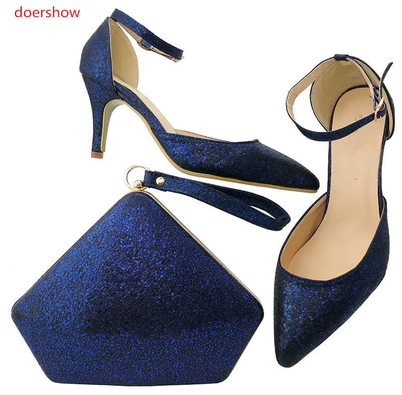 doershow Newest Style African Matching Shoes And Bag Set Beautiful Design European Ladies Slipper And Bags Sets !LULU1-9