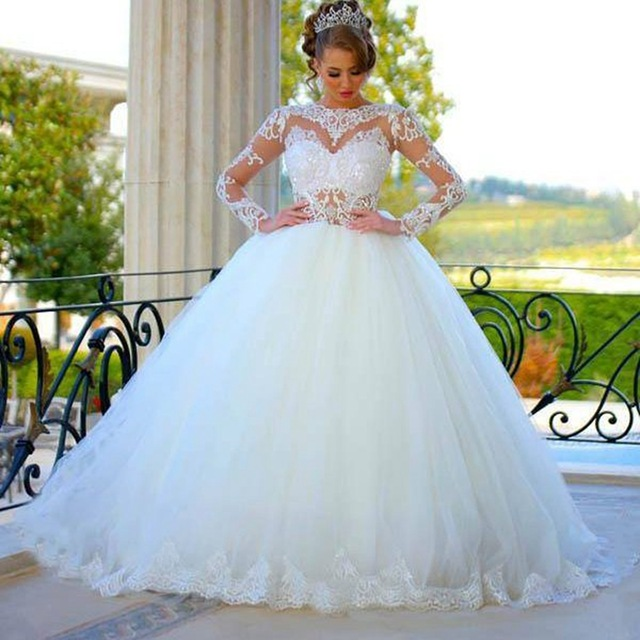 25c27da74d3 Vintage Plus Size Wedding Dresses 2016 Ball Gown Appliques Tulle Long  Sleeve Real Photo Princes Lace Muslim Bridal Gowns SA009