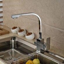 НОВЫЙ Chrome Двойной Носик Кухня Раковина Кран Чистой Воды Водопроводные Краны Смесителя Одной Ручкой