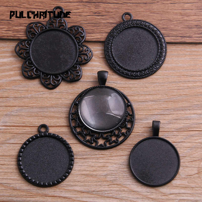 PULCHRITUDE 4pcs 25mm Inner Size Mix 5 Style Black Classical Style Cabochon Base Setting Charms Pendant  P6585