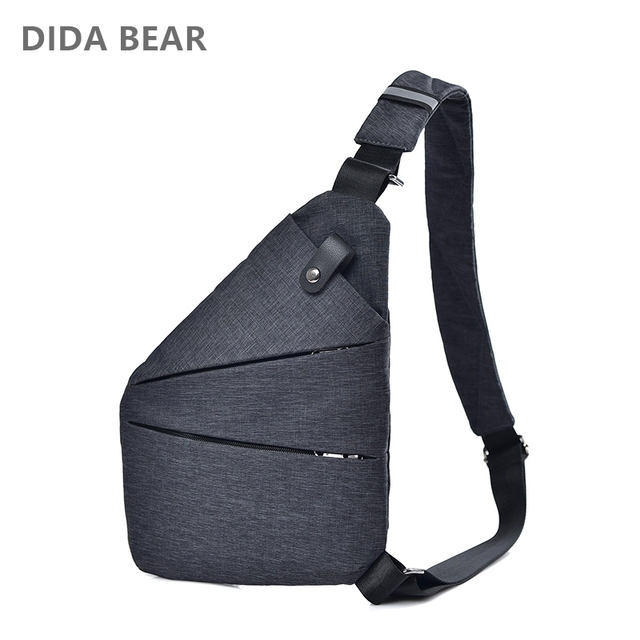 DIDA BEAR Summer Black Single Shoulder Bags for Men Waterproof Nylon Anti Theft Crossbody bags Male Chest Bag Blue Red