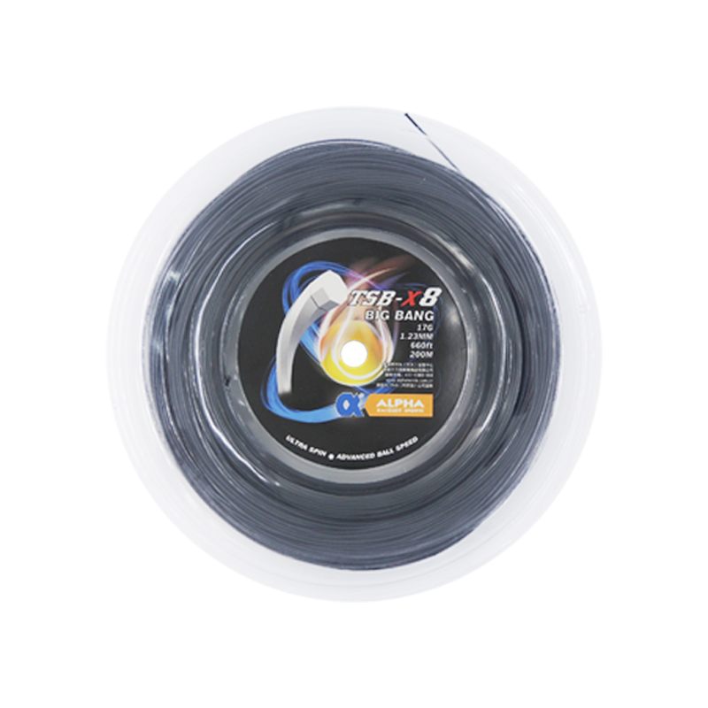 1 Reel Alpha TSB X8 Polyester Tennis String BIG BANG 200m Octagon1.23mm Tennis Racket String Ultra Spin Advanced Ball Speed