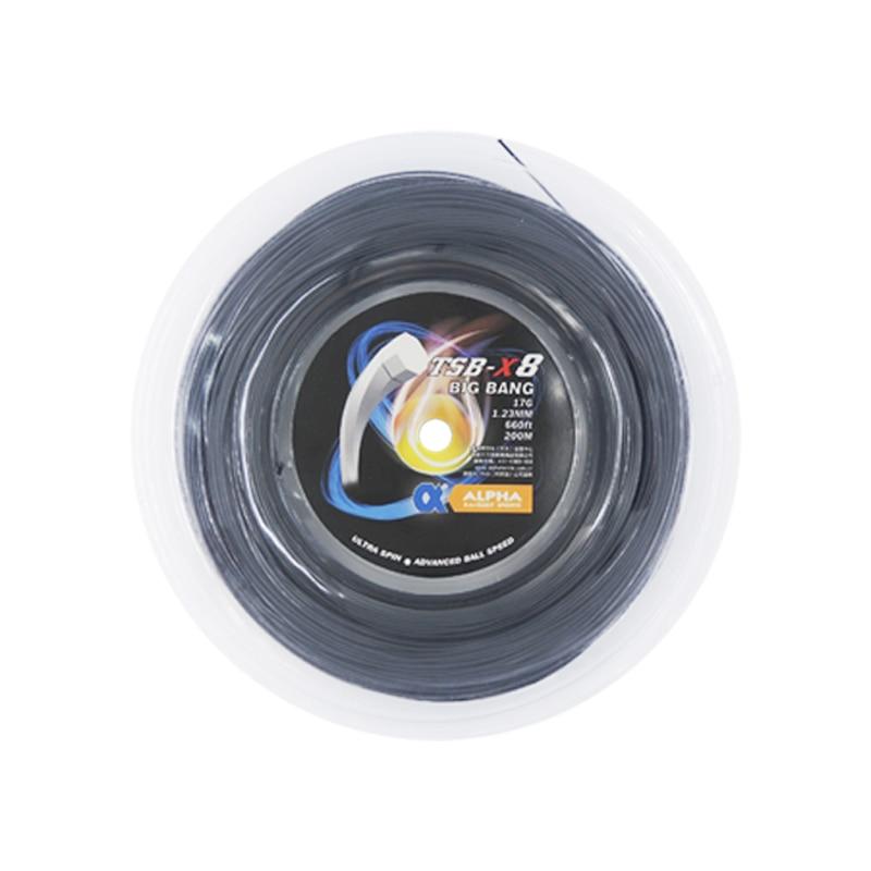 1 bobine Alpha TSB-X8 Cordage Polyester BIG BANG 200 m Octagon1.23mm Raquette De Tennis Chaîne Ultra Spin Balle Avancée Vitesse