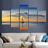 Modern 5pcs Sailing Ship Ocean Oil Painting Painted On Canvas Home Decoration Home Decor On Canvas