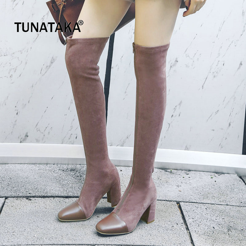 Suede Thick High Heel Zipper Woman Over The Knee Boots Square Toe Winter Boots Fashion Thigh Boots Ladies Black Pink