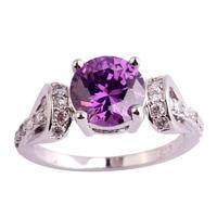 lingmei Wholesale Round Cut Amethyst White Topaz 925 Silver Ring Size 6 7 8 9 10 11 Fashion Popular Women Jewelry Free Shipping