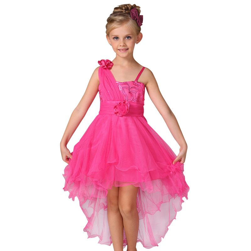 2016 New Flowers Dress For Girls For Wedding and Party Summer Baby Clothes Princess Party Kids Dresses For Girl Infant Costume new fashion embroidery flower big girls princess dress summer kids dresses for wedding and party baby girl lace dress cute bow