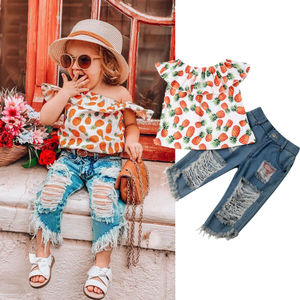 Gilr Clothes Set Summer Pineapple Shirt And Hole Jeans Pants 2 Pcs Clothing Suit For Baby Kids Cute Sets 2019 New Style(China)