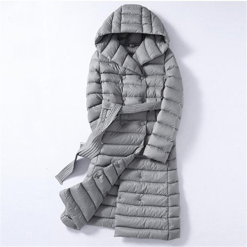 2018 Women Duck   Downs   Jacket Autumn Winter Sashes Long   Down   Parkas Female Hooded   Coats   Ultra Light   Coat   Outerwear Plus Size 1057