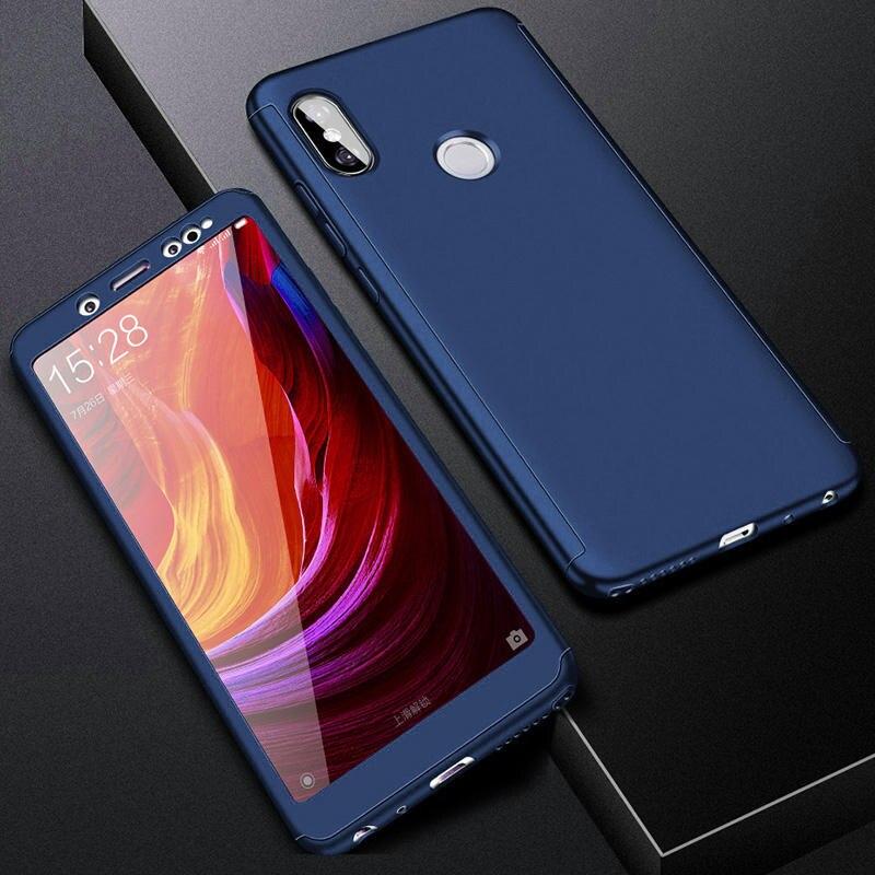 360 полный защитный чехол для телефона для Redmi Note7 note8 8A 7A для Xiaomi A3 Lite A2lite противоударный полный чехол s со стеклянной пленкой - Цвет: Синий