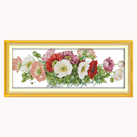 Joy Sunday crossstitch kits Poppies (7) flower DMC14CT11CT cotton fabric readingroom diningroom deco painting factory wholesale