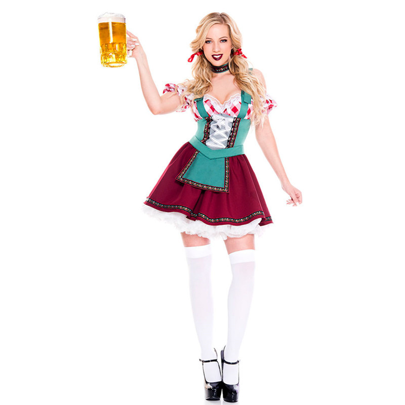 2019 New Arrival Women's Plus Size Oktoberfest Fraulein Costume Sexy Barmaid Waitress Dress Up Outfits German Festival Clothes