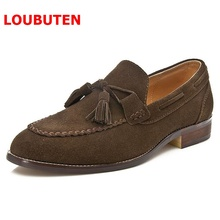 OMDE Summer Suede Tassel Loafers British Style Soft Leather Casual Mens Shoes Handmade Slip On Men's Slippers Men Prom Shoes недорого