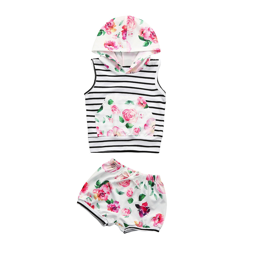 HOT Fashion 2Pcs Newborn Infant Baby Boys Girls Floral Striped Hooded Sleeveless Tops+Shorts Clothes Set Outfits Casual Summer
