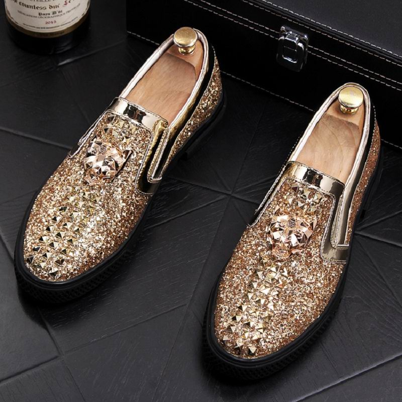 Detail Feedback Questions about ERRFC New Arrival Luxury Men Gold Casual  Comfort Shoes Fashion Designer Glitter Bling Slip On Loafer Shoes Man  Trending ... 769853d75dce
