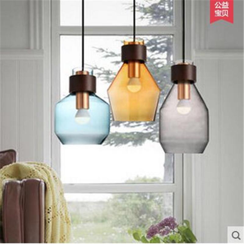 Vintage Europe Creative Handmade Colorful Glass Iron Led E27 Pendant Light for Restaurant Dining Room Bar Lamps AC80-265V 1511 vintage handmade carved crystal glass bulbs led g9 pendant light for dining room living room bar restaurant lamps 1484