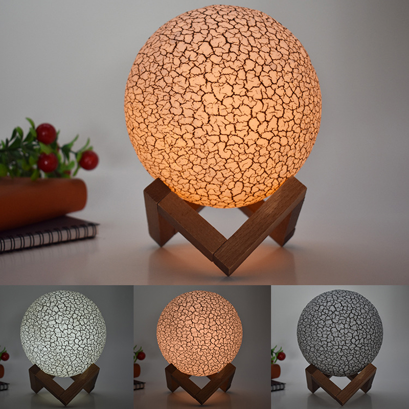 15cm 3D Moon Light LED Night Light crack colorful table lamp touch remote control home bedroom decoration lighting