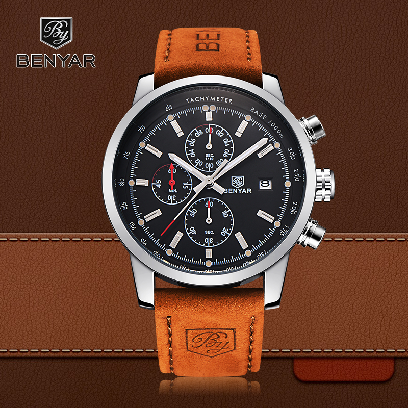 BENYAR Sport Men Perhiasan Top Brand Luxury Men Kulit Chronograph Quartz Wrist Watch Pria Militer Jam
