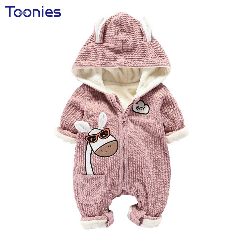 Infant Boys Clothes Cartoon Baby Girl Rompers Winter Cashmere Unisex Clothing Sets Long Sleeve Newborn Jumpsuits Hooded Romper baby clothing infant baby kid cotton cartoon long sleeve winter rompers boys girls animal coverall jumpsuits baby wear clothes