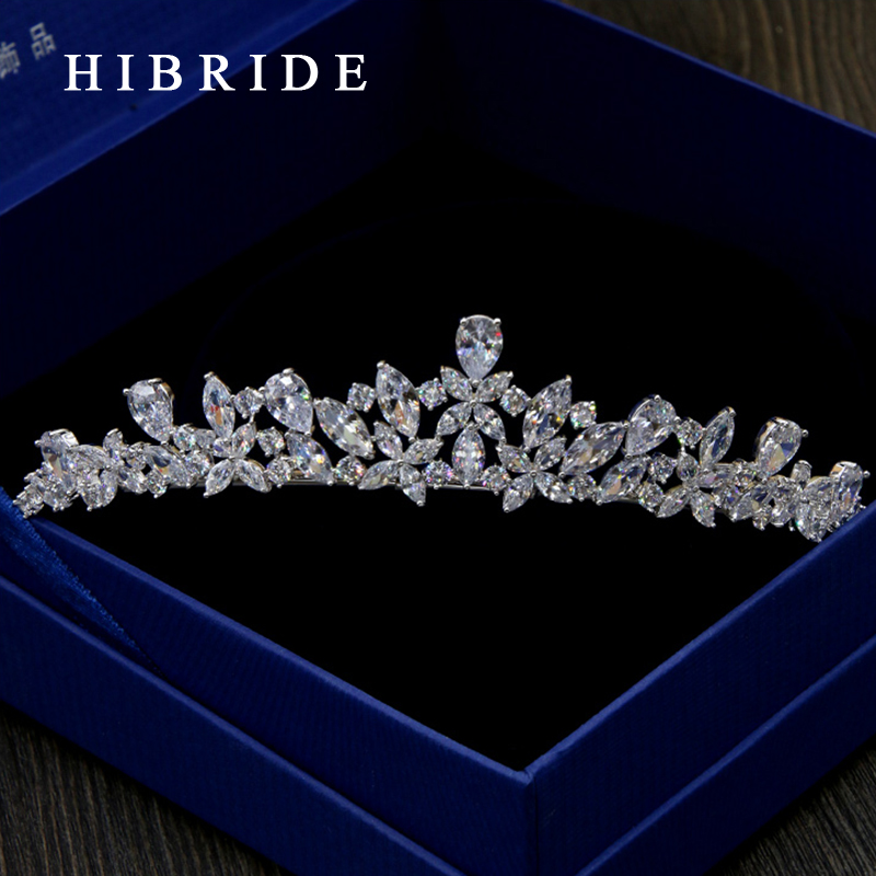 HIBRIDE Jewelry Full AAA CZ Tiara King Crown Wedding Hair Jewelry Headpiece Women Birthday Party Bridal Hair Accessories HC0002