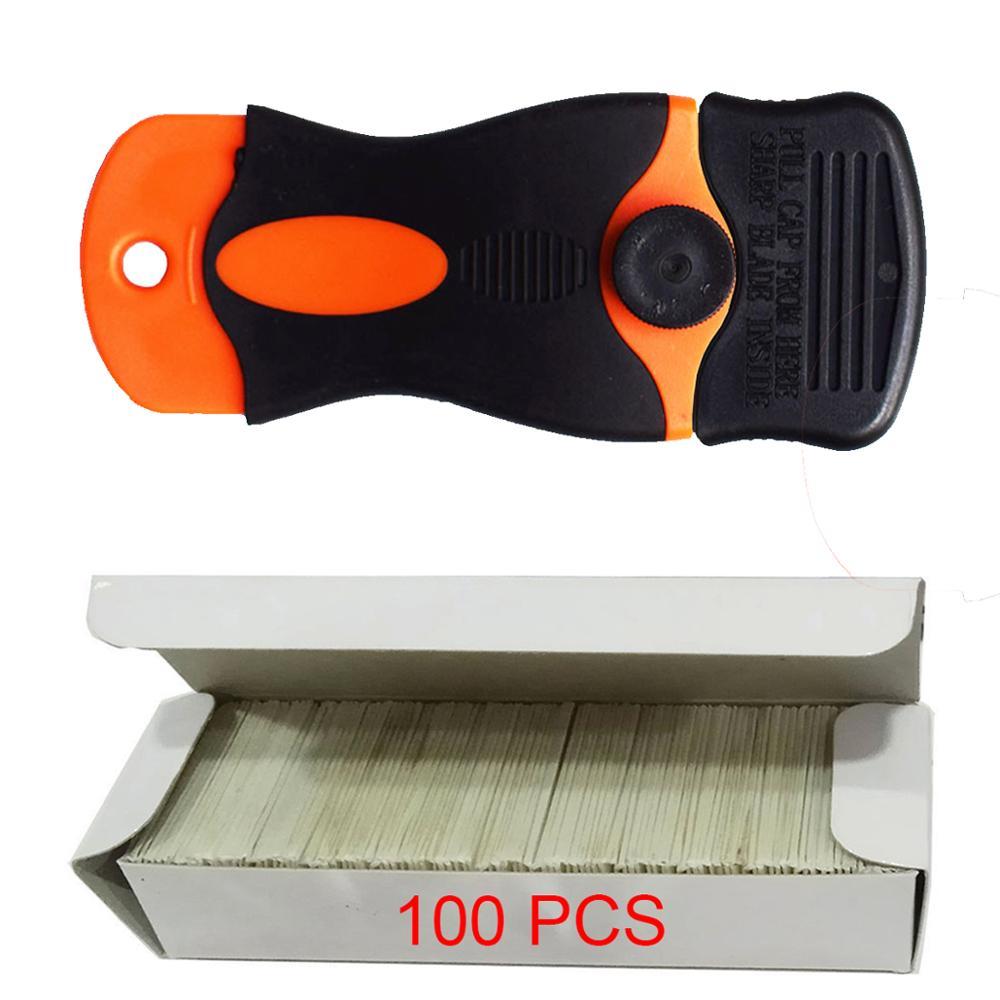 100pcs Multi Glue Razor Scraper Carbon Steel Blades Auto Car Film Old Sticker Remover Squeegee Glass